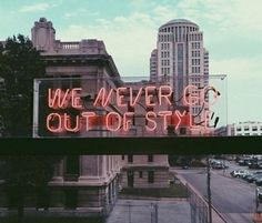 ♚ Bella Montreal ♚ Insta: bella.montreal || Pinterest & WeHeartIt: bella4549 || We never go out of style neon sign on urban building. City, moods, cloudy, pink