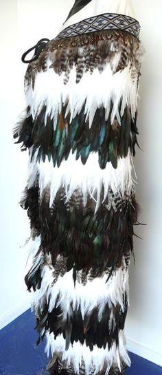 Maori Feather Korowai - Black Brown White and Paua