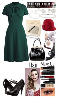 """Laura Rogers (The First Avenger)"" by izzylanderos ❤ liked on Polyvore featuring Gabriella Rocha, NARS Cosmetics, American Vintage, Nadri, Blue Nile, Smead and Betmar"