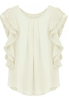 To find out about the White Ruffles Sleeve Loose Chiffon Blouse at SHEIN, part of our latest Blouses ready to shop online today! Dress Me Up, Shirt Blouses, Passion For Fashion, Dress To Impress, Blouses For Women, Style Inspiration, Outfits, Stylish, Clothes