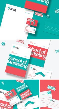 School of marketing Brand Identity Design. Brand Identity Design, Corporate Design, Branding Design, Logo Design, Stationery Design, Brochure Design, Academy Logo, Marketing Logo, Bussiness Card