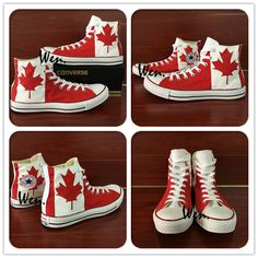 11c6b6405842 Aliexpress.com   Buy Canadian National Canada Flag Converse All Star Man  Woman Shoes Red Maple Leaf Hand Painted High Top Canvas Sneaker Men Women  from ...