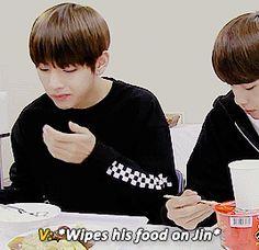 """jminies: """"""""Taehyungs habit of wiping food on his hyungs """" """""""