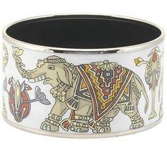 Hermes Small White Elephant Bangle Bracelet