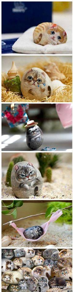 Very Cute Rock Kitties | Painted Rocks   Cats