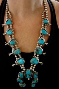 Beautiful older Navajo Turquoise Squash Blossom Necklace