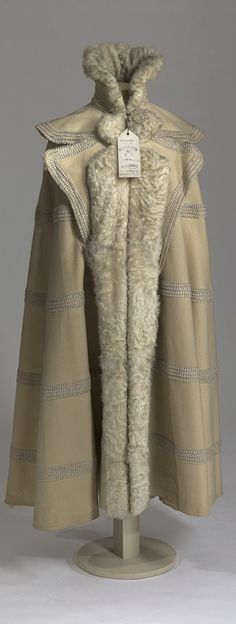 Winter cape belonging to Dowager Empress Maria Fyodorovna. Made by Morin-Blossier, Paris, France. Circa 1905. Cloth, silk, braid, fur, metal. Collection of State Hermitage Museum.