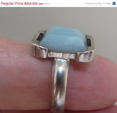 Silver  Amazonite ring   Natural stone ring  Size 7.5 by bgezunt, $55.00