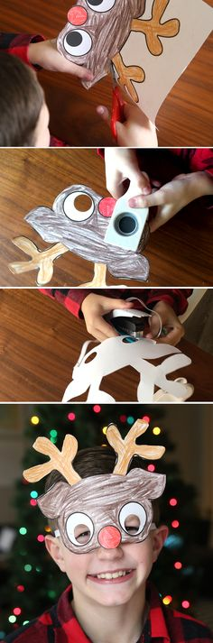Printable holiday masks for kids to color. Easy and cheap Christmas craft for kids - perfect for classroom parties!