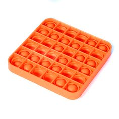 If you're a bubble wrap popping addict, you'll ADORE this larger square-shaped, bright orange version of our Mousey Bubble Fidget Game! This cool, self-contained 1- or 2-player fine motor skill-building game features 36 little popper bubbles and lots of ways to play. We love it best for plain ole-fashioned fidgeting fun! Just press the kangaroo bubbles down and they make a neat (soft) bubble wrap-like popping sound; then flip it over and start again. It's endlessly reusable and washable…