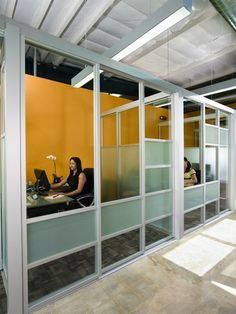 Office Partitions cat#005 is shown in 3inch frame silverfinish, customdesign andclear and frostedglass