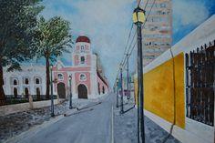 """Obra de 1er año en la escuela, ejercicio académico llamado """"Calle subiendo.."""", acrílico sobre tela, 40x50 cm, 2009."""