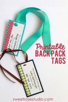 Printable Back Pack Tags via Schmeltzer Schmeltzer Schmeltzer {Sweet Rose Studio} Adorable! Lots of styles to choose from! Backpack Tags, Diy Backpack, Free Printable Tags, Free Printables, School Fun, Back To School, School Ideas, Sunday School, School Stuff