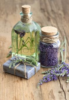 lavender oil, herbal soap and bath salt