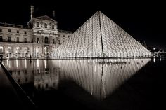 Louvre Pyramid at night  Paris Landmark by PatrickRabbatPhotos, $20.00