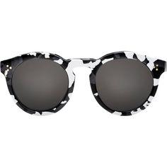 Illesteva Leonard II Sunglasses (£190) ❤ liked on Polyvore featuring accessories, eyewear, sunglasses, glasses, lunettes, óculos, white, round acetate sunglasses, camouflage lens sunglasses and camo sunglasses
