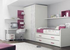 Kids Touch 25 Dormitorio juvenil Juvenil Camas Compactas y Nidos Cama nido con cama de arrastre, con escritorio, estanterías y armario