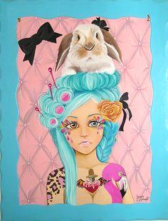 """""""Alice in Versailles"""" acrilico su pannello in legno intagliato  di Serena Solange Carluccio #pink"""
