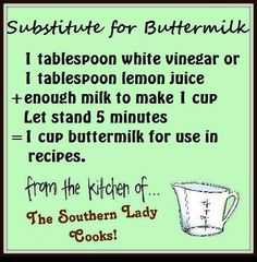 Conversion Charts & Kitchen Tips - buttermilk substitute