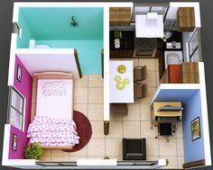 Plano de departamento de 1 dormitorio en espacio reducido