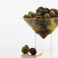 """Marinated Olives ~ These spicy olives are always on the menu at George's recently renovated bar; they're infused with fennel, a favorite flavoring of chef Trey Foshee. """"The licorice flavor always makes me hungry,"""" he says."""