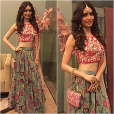 Outfit inspiration for indian bridesmaids sister of the bride outfit ideas grey long skirt with floral print paired with pink gotta patti blouse and m Lehenga Style, Lehenga Choli, Anarkali, Lehnga Blouse, Lehenga Skirt, Bridal Lehenga, Lehenga Designs, Choli Designs, Indian Wedding Outfits