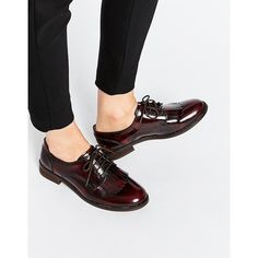 ASOS MEMOIR Leather Flat Shoes (245 BRL) ❤ liked on Polyvore featuring shoes, flats, oxblood, lace up shoes, flat sole shoes, shiny shoes, flat pumps and asos shoes