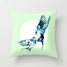Birds Throw Pillow by nuam Buy Birds, Decorative Pillows, Wings, Throw Pillows, Family Trust, Cool Stuff, Spring Nature, Illustration, Swallows
