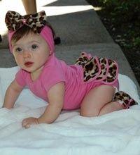 Lollipop Leopard Infant Gift Set includes: Pink Onesie with Lollipop Leopard Print Ruffle, Pink Baby Headband with Leopard Print Bow, Pink and Leopard Print Baby Girl Booties $40.00