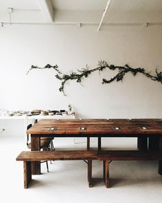 Dining / eating area with harvest table and white walls