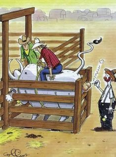 More Funny Cartoons - Just for laughs not Gags Cartoon Jokes, Funny Cartoon Pictures, Funny Cartoons, Funny Comics, Funny Photos, Funny Jokes, Hilarious, Satirical Illustrations, Bull Riders