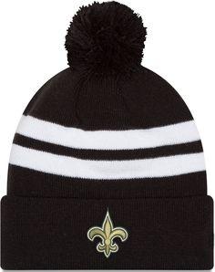 New Era Men s New Orleans Saints Stripe Cuff Black Pom Knit 84a1482e3cae