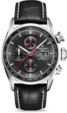 Certina Watch DS-1 Chrono Automatic #bezel-fixed #bracelet-strap-leather…