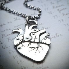 CARDIOsterling silver anatomical heart necklace by missyindustry