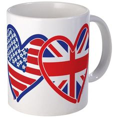 American Flag/Union Jack Flag Hearts Mug on CafePress.com