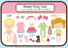 slumber party paper doll printable (can print onto magnetic paper and use on a cookie sheet) Gaspard, Paper Dolls Printable, Dress Up Dolls, Vintage Paper Dolls, Slumber Parties, Sleepover, Free Paper, Kids Playing, Cookies Et Biscuits