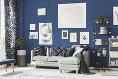 Blue Home Decor: Blue Home Office Designs, Decorating Ideas Blue Feature Wall Living Room, Living Room Grey, Living Room Decor, Blue Office Decor, Blue Home Decor, Home Office Design, House Design, Blue Home Offices, Dark Blue Walls
