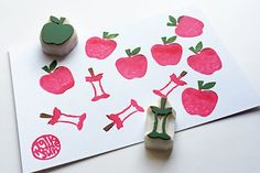 apple and eaten apple rubber stamp set. fruit hand carved rubber stamps. woodland stamp. teacher stamp. birthday holiday crafts. set of 2