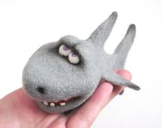 Hey, I found this really awesome Etsy listing at http://www.etsy.com/listing/154781370/needle-felted-toy-funny-shark-gray-white