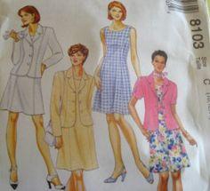 McCALLS SEWING PATTERN - 8103 - Womens PLUS 16,18,20  DRESS AND JACKET