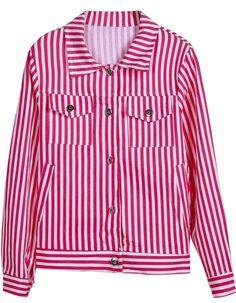 Cazadora rayas verticales mangas largas-Rojo y blanco EUR18.19