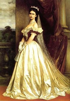 Empress Elisabeth of Austria painted in a gown designed by Charles Frederick Worth for her coronation as Queen of Hungary in 1867