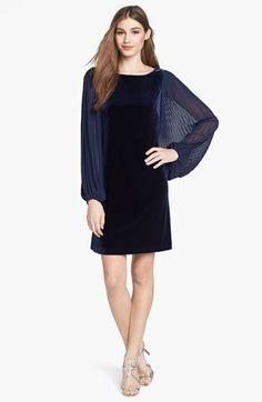 Eliza J Pleated Blouson Sleeve Velvet Shift Dress available at #Nordstrom