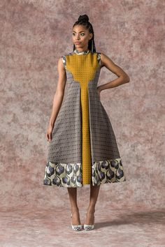 Sika'a Jacquard Print A-line Sleeveless Midi Dress - Sika'a African Dresses For Women, African Print Dresses, African Attire, African Wear, African Women, African Outfits, African Clothes, African Fashion Ankara, African Print Fashion