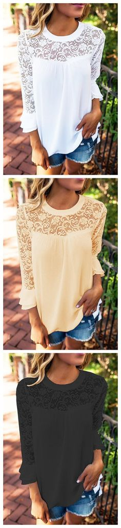 Casual Lace details Stitching Chiffon Top