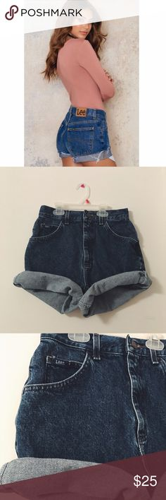 Vintage Lee High Waisted Shorts   ••• High rise denim shorts from lee. Fits at the belly button. Rolled cuff style, can be unrolled if desired. Pre worn vintage. Dark wash. No major flaws.  •••Tags: Levi's lee jeans bdg one teaspoon cutoffs short boyfriend mom jeans    Bundle & Save!  No trades!  Check out my closet for more! Lee Shorts Jean Shorts