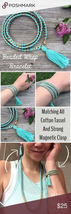 Wrap Bracelet Beautiful triple wrap bracelet in teal & gold colors! This bracelet features 2 rows of teal beads that are connected with gold bar beads in between. It has a matching cotton tassel with a strong, gold colored magnetic clasp. It's approximately 22 inches long so it easily wraps around your wrist 3 times. This bracelet is totally on-trend with boho fashion! Other colors available soon!  Look for the matching items seen in pic 3   Made in the USA One Bead at a Time Designs Jewelry…