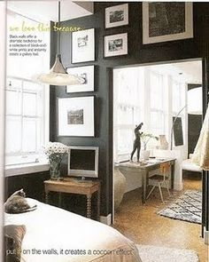 Take a room with white walls. Paint one wall black as an accent wall. On said wall, hang some staggered sizes of black-and-white prints. Dark Walls, White Walls, Black Accent Walls, Bedroom Black, Black Bedrooms, Accent Wall Bedroom, Bedroom Decor, Wall Decor, Interior Design Inspiration