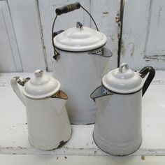 Vintage enamelware coffee pot and tea pot 3 by AnitaSperoDesign, $85.00