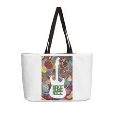 """Make some noise (music)"" #bag by #Beatrizxe | #Threadless It's inspired in the feeling that music brings #music #guitar #doodle #synesthesia #nirvana #greenDay #evanescence #withinTemptation #RollingStones #colour #noise #melody #color #artwork #artist ///// Está inspirada en los sentimientos que la música provoca #guitarra #sinestesia #ruido #artista #creatividad"